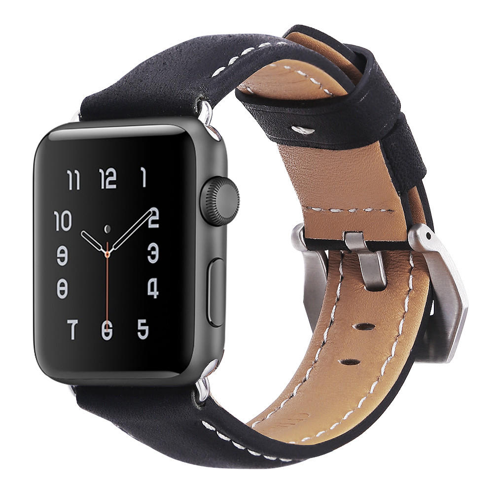 Premium Genuine Leather Replacement Band with Stainless Metal Clasp