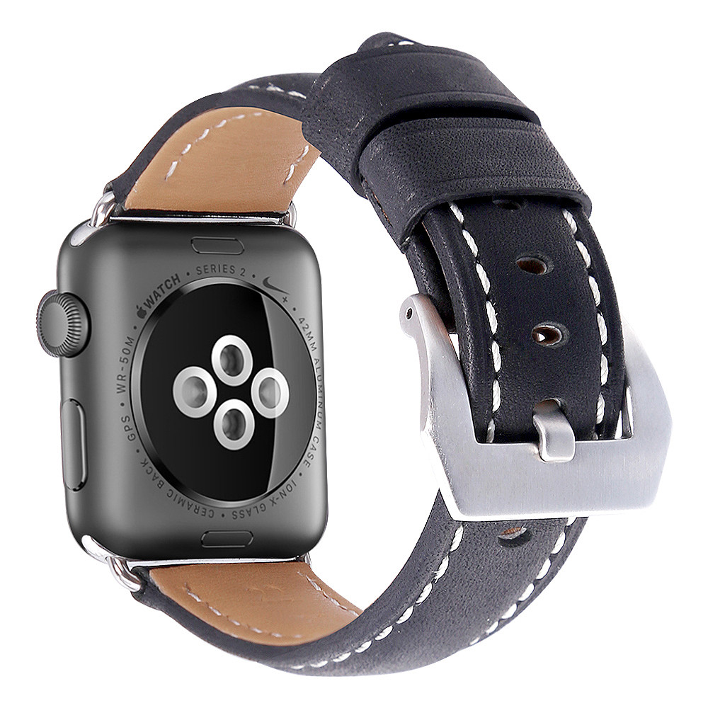 Handodo Premium Genuine Leather Replacement Band with Stainless Metal Clasp Apple Watch Band image37
