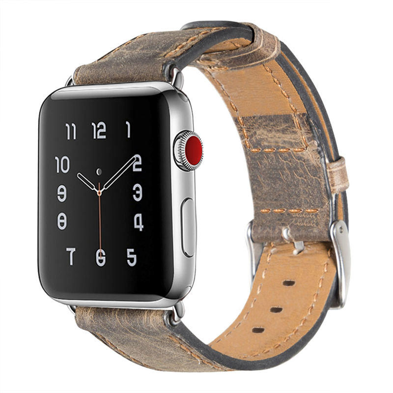 Apple Watch Retro Vintage leather Replacement with Stainless Metal Clasp