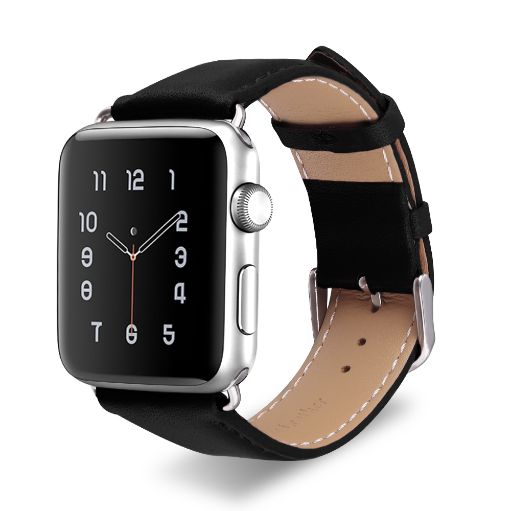 Handodo Classic Genuine Leather Replacement Band with Stainless Metal Clasp Apple Watch Band image31
