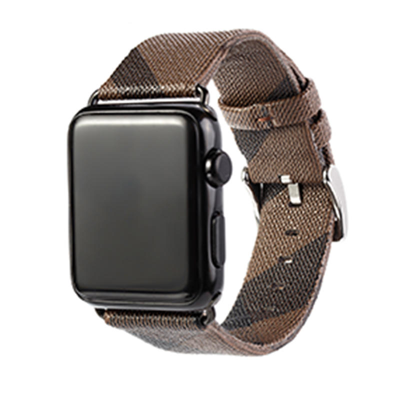 Fine weave pattern Leather Replacement Band with Stainless Metal Clasp