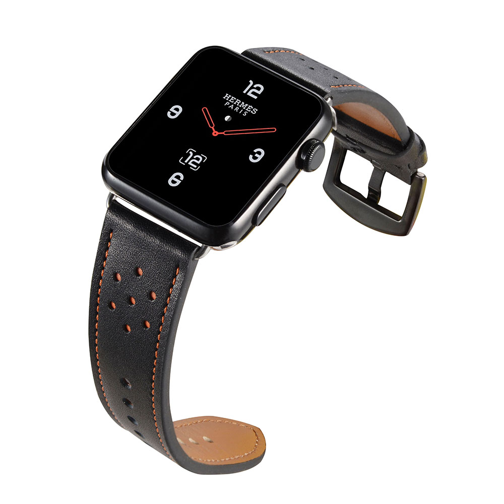 Handodo Round Hole pattern Leather Replacement Band with Stainless Metal Clasp Apple Watch Band image26