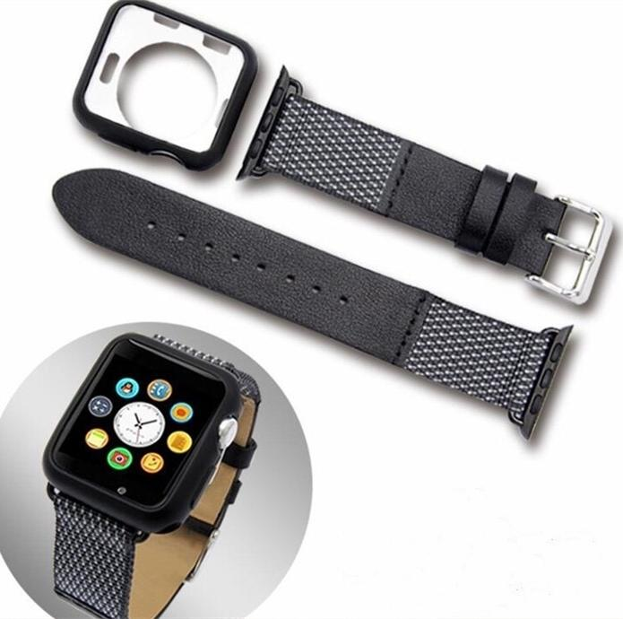Apple watch leather band and TPU case suit Ribbon two-color