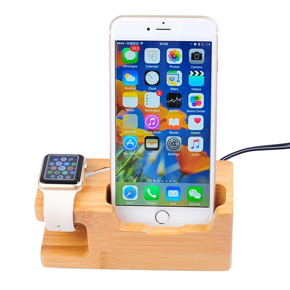 Charging Station/Stand - Bamboo Wood Mobile Phone Holder Charging Dock