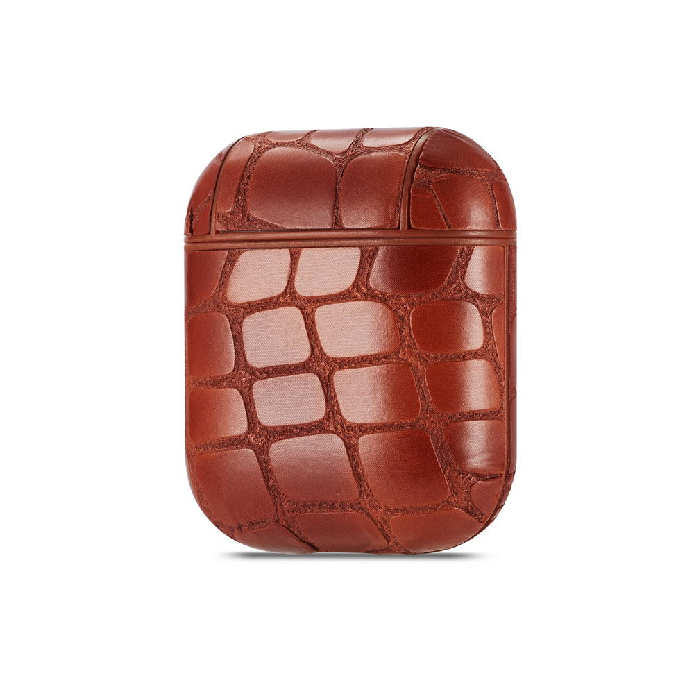 AirPods Charging Case/skin - Genuine Leather Protective Shockproof Cover with Crocodile Pattern