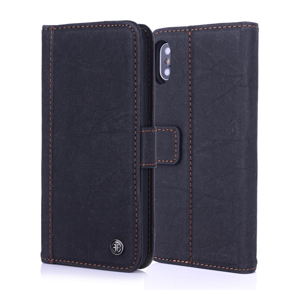 iPhone X Case - German Washed Kraft Paper Wallet Folio case with Magnet Buckle