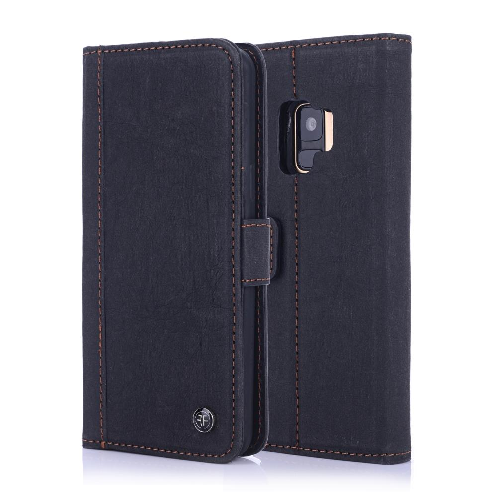 German Washed Kraft Paper Wallet Folio case with Magnet Buckle