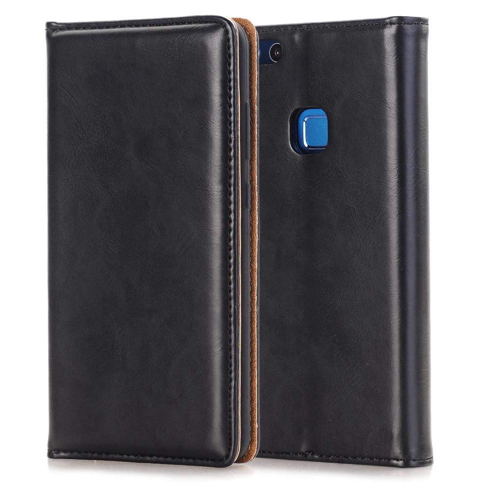 Huawei P10 Lite case – Genuine Leather Folio Flip Wallet Case Cover with Kickstand Feature & Magnetic Closure